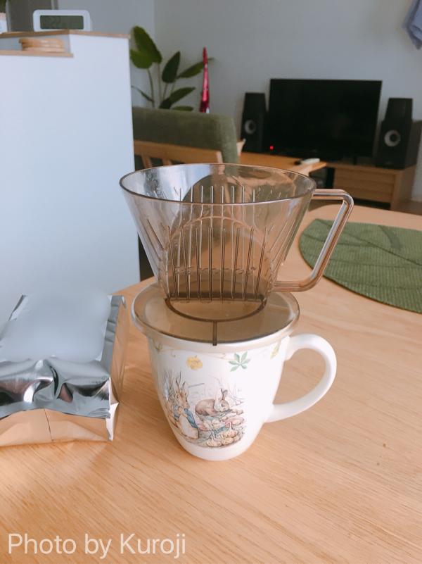 コーヒードリッパーをマグカップに設置した
